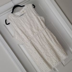 BRAND NEW White tweed dress with pearls